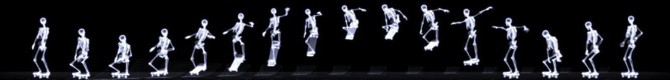 Röntgenstraal van menselijk skelet springend vrije slag Stock Afbeeldingen