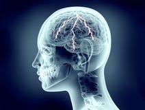 Röntgenstraalbeeld van menselijk hoofd met bliksem Royalty-vrije Stock Foto's