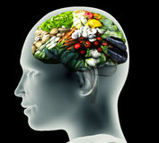 Röntgenstraalbeeld van menselijk hoofd met groenten voor hersenen Stock Afbeeldingen