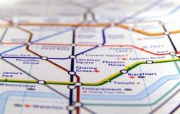 Röröversikt av den London tunnelbanan Arkivbild