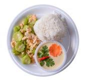 Rör den stekte bittra kalebassen med ägget på ris Royaltyfri Bild