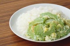 Rör den stekte bittra kalebassen med ägget på ris Royaltyfri Foto