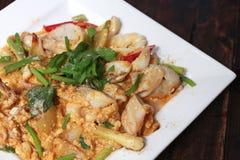 Rör den stekte tioarmade bläckfisken med det rimmade ägget york, Thailand läcker skaldjur Royaltyfri Bild