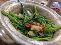 Rör grönsaker för Fried Garlic kangkong arkivbild