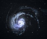 Röra sig i spiral galaxen med starfieldbakgrund. Arkivbild