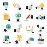 Rörande affärssymboler för hand Arkivfoto