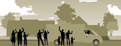 Rörande dag med att vinka för grannar Arkivbilder