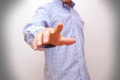 Rörande digital skärm för affärsman med fingret Royaltyfria Foton