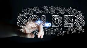 Rörande försäljningssymboler för affärskvinna med henne tolkning för finger 3D Royaltyfri Foto