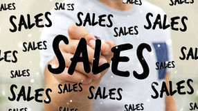 Rörande försäljningssymboler för affärsman med en tolkning för penna 3D Royaltyfri Bild
