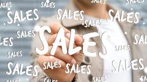 Rörande försäljningssymboler för affärsman med en tolkning för penna 3D Royaltyfri Foto