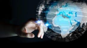 Rörande globalt nätverk för affärskvinna på renderi för planetjord 3D Arkivfoto