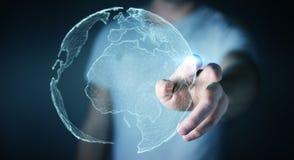 Rörande globalt nätverk för affärsman på tolkning för planetjord 3D Royaltyfria Foton