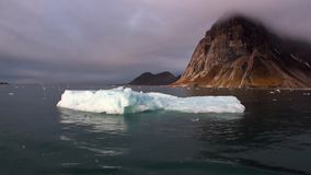 Rörande isisflak på bakgrund av berget på vatten av det arktiska havet i Svalbard stock video