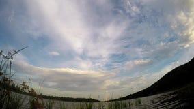 Rörande moln på sjösida stock video