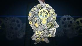 Rörande skärm för affärskvinna, kugghjul som gör det mänskliga huvudet att forma konstgjord intelligens, datateknik, humanoid lager videofilmer
