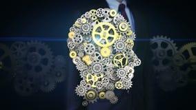 Rörande skärm för affärsman, kugghjul som gör det mänskliga huvudet att forma konstgjord intelligens, datateknik, humanoid arkivfilmer