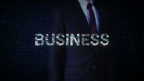 Rörande skärm för affärsman, talrika prickar som tillsammans komms för att göra bokstäver 'AFFÄR', vektor illustrationer