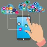 Rörande skärm för mänsklig hand av den smarta telefonen stock illustrationer