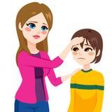 Rörande sonhuvud för moder stock illustrationer
