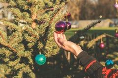 Rörande struntsak för hand på julträd utanför Arkivbilder