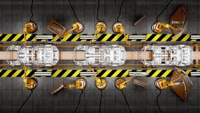 Rörande transportband med ramar av bilar arkivfilmer