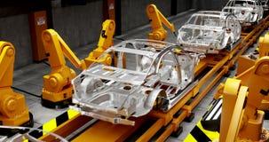 Rörande transportband med ramar av bilar och robotwelders lager videofilmer