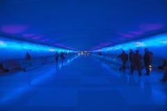 Rörande trottoarer och en ändrande ljus show i tunnelen av den Detroit flygplatsen, Detroit, Michigan Royaltyfria Bilder
