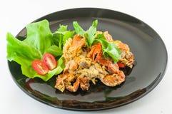 Rörda Fried Soft Crab med vitlök, peppar, curry arkivbild
