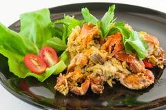 Rörda Fried Soft Crab med vitlök, peppar, curry royaltyfria foton