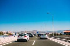 Rörelse av medel på motorvägen, motorway MA-20 royaltyfria foton