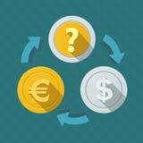 Rörelse av pengar Valutahastigheter royaltyfria foton