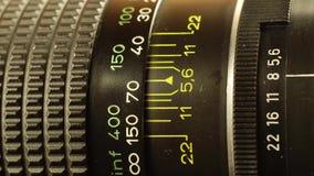 Rörelse för fotografisk lins arkivfilmer