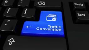 Rörelse för trafikomvandlingsrunda på knappen för datortangentbord arkivfilmer
