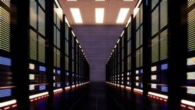 Rörelse längs datorerna inom en datorhall lager videofilmer