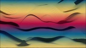 Rörelsebakgrund av lågt polygonal kubflöde Animering av abstrakt färgrik sand Vind i de rörande barkhansna för öken lager videofilmer