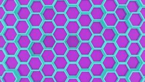 Rörelsedesign av den geometriska sexhörningsyttersidaöglan Rastermodell av vinkande hexagones Kretsad sömlös animering Cyan och royaltyfri illustrationer