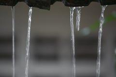 Rörelsedroppar av vatten regnar från taket, mjukt fokusvatten Arkivfoto