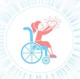 Rörelsehindrad flicka för symbol med en sittvagn vektor illustrationer