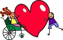 Rörelsehindrad flicka med stor hjärtaförälskelse Arkivfoto