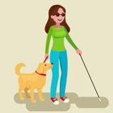Rörelsehindrad flicka och handbok-hund Blind tonåring med hans trogna följe royaltyfri illustrationer