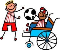 Rörelsehindrad fotbollpojke Royaltyfria Foton