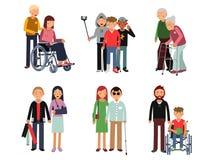 Rörelsehindrad person med hans hjälpsamma vänner eller volontärer Illustration för vektorlägenhetstil av människor vektor illustrationer