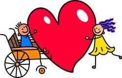 Rörelsehindrad pojke med stor hjärtaförälskelse stock illustrationer