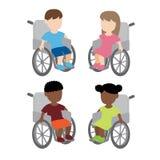 Rörelsehindrade barn för hjulstol Arkivbilder