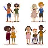 Rörelsehindrade barn med vänner royaltyfri illustrationer