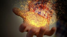 Rörelsen av en variation av härliga partiklar på handen av en man stock illustrationer