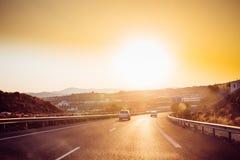 Rörelsen av medel på motorvägen, motorway E-15 nära Malaga royaltyfri foto