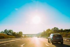 Rörelsen av medel på motorvägen, motorway A8 nära Trets, Fra royaltyfri fotografi