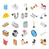 Rörmokare toalett, isometriska vektorer för baddusch fotografering för bildbyråer